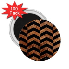 Chevron2 Black Marble & Brown Stone 2 25  Magnet (100 Pack)  by trendistuff