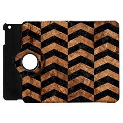 Chevron2 Black Marble & Brown Stone Apple Ipad Mini Flip 360 Case by trendistuff