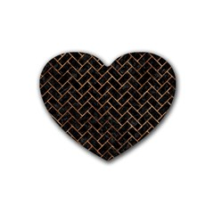 Brick2 Black Marble & Brown Stone Rubber Coaster (heart) by trendistuff