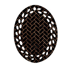 Brick2 Black Marble & Brown Stone Oval Filigree Ornament (two Sides) by trendistuff
