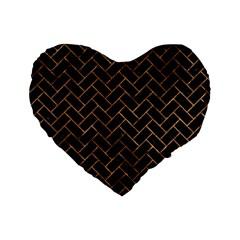 Brick2 Black Marble & Brown Stone Standard 16  Premium Heart Shape Cushion  by trendistuff