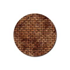 Brick1 Black Marble & Brown Stone (r) Rubber Coaster (round) by trendistuff