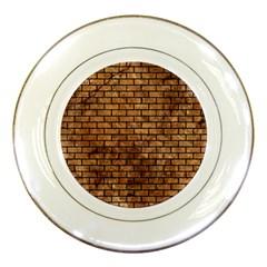 Brick1 Black Marble & Brown Stone (r) Porcelain Plate by trendistuff