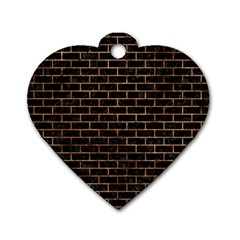 Brick1 Black Marble & Brown Stone Dog Tag Heart (two Sides) by trendistuff