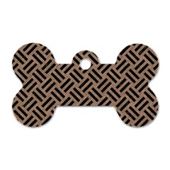 Woven2 Black Marble & Brown Colored Pencil (r) Dog Tag Bone (two Sides) by trendistuff