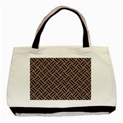 Woven2 Black Marble & Brown Colored Pencil (r) Basic Tote Bag (two Sides) by trendistuff