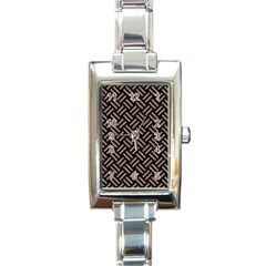 Woven2 Black Marble & Brown Colored Pencil Rectangle Italian Charm Watch by trendistuff