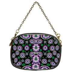 Fantasy Flower Forest  In Peacock Jungle Wood Chain Purses (one Side)  by pepitasart