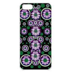 Fantasy Flower Forest  In Peacock Jungle Wood Apple Iphone 5 Seamless Case (white) by pepitasart