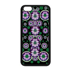 Fantasy Flower Forest  In Peacock Jungle Wood Apple Iphone 5c Seamless Case (black) by pepitasart