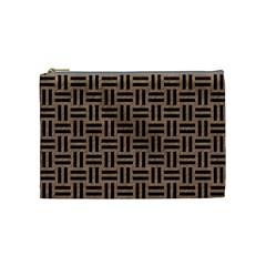 Woven1 Black Marble & Brown Colored Pencil (r) Cosmetic Bag (medium) by trendistuff