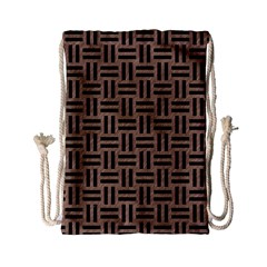 Woven1 Black Marble & Brown Colored Pencil (r) Drawstring Bag (small) by trendistuff