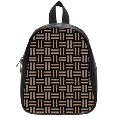 Woven1 Black Marble & Brown Colored Pencil School Bag (small) by trendistuff