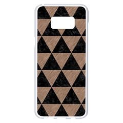 Triangle3 Black Marble & Brown Colored Pencil Samsung Galaxy S8 Plus White Seamless Case