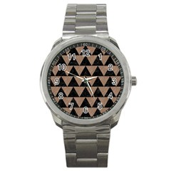 Triangle2 Black Marble & Brown Colored Pencil Sport Metal Watch by trendistuff