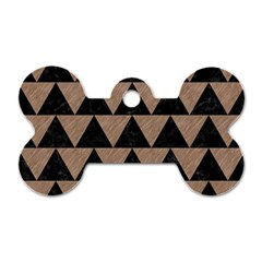 Triangle2 Black Marble & Brown Colored Pencil Dog Tag Bone (two Sides) by trendistuff