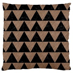Triangle2 Black Marble & Brown Colored Pencil Large Cushion Case (one Side) by trendistuff