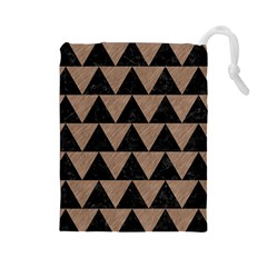 Triangle2 Black Marble & Brown Colored Pencil Drawstring Pouch (large) by trendistuff