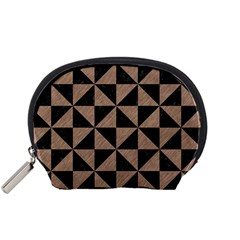 Triangle1 Black Marble & Brown Colored Pencil Accessory Pouch (small) by trendistuff