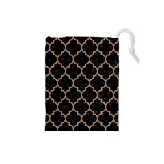 Tile1 Black Marble & Brown Colored Pencil Drawstring Pouch (small) by trendistuff