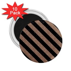 Stripes3 Black Marble & Brown Colored Pencil (r) 2 25  Magnet (10 Pack) by trendistuff