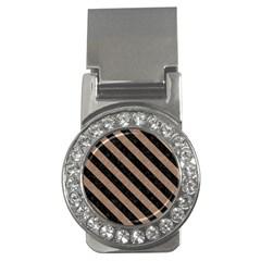 Stripes3 Black Marble & Brown Colored Pencil (r) Money Clip (cz) by trendistuff