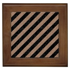 Stripes3 Black Marble & Brown Colored Pencil Framed Tile by trendistuff