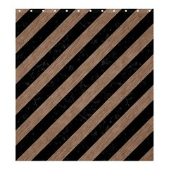 Stripes3 Black Marble & Brown Colored Pencil Shower Curtain 66  X 72  (large) by trendistuff