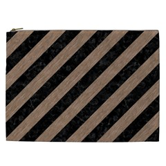 Stripes3 Black Marble & Brown Colored Pencil Cosmetic Bag (xxl) by trendistuff
