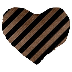 Stripes3 Black Marble & Brown Colored Pencil Large 19  Premium Flano Heart Shape Cushion by trendistuff