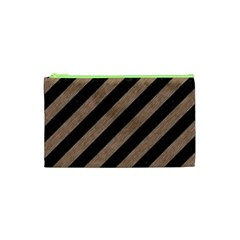 Stripes3 Black Marble & Brown Colored Pencil Cosmetic Bag (xs) by trendistuff