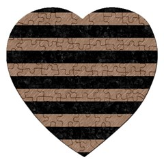 Stripes2 Black Marble & Brown Colored Pencil Jigsaw Puzzle (heart) by trendistuff