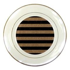 Stripes2 Black Marble & Brown Colored Pencil Porcelain Plate by trendistuff