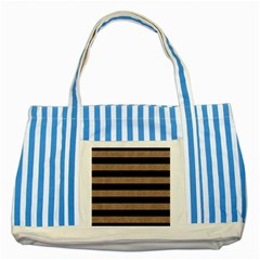 Stripes2 Black Marble & Brown Colored Pencil Striped Blue Tote Bag by trendistuff