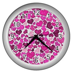Sparkling Hearts Pink Wall Clocks (silver)  by MoreColorsinLife