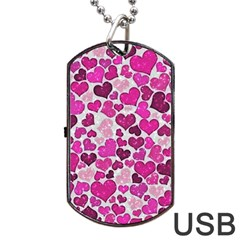Sparkling Hearts Pink Dog Tag Usb Flash (one Side) by MoreColorsinLife