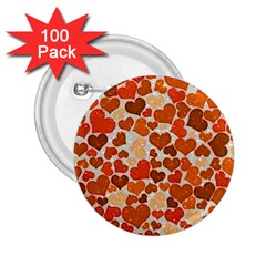Sparkling Hearts,orange 2 25  Buttons (100 Pack)  by MoreColorsinLife