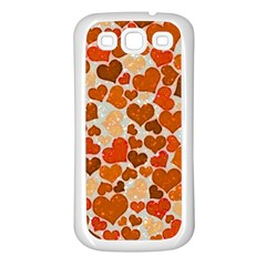 Sparkling Hearts,orange Samsung Galaxy S3 Back Case (white) by MoreColorsinLife