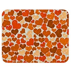 Sparkling Hearts,orange Double Sided Flano Blanket (medium)  by MoreColorsinLife