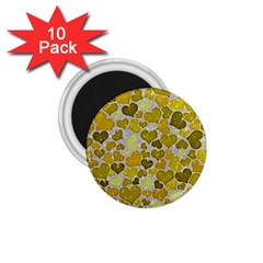 Sparkling Hearts,yellow 1 75  Magnets (10 Pack)  by MoreColorsinLife