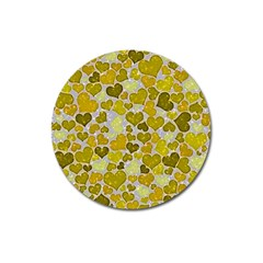 Sparkling Hearts,yellow Magnet 3  (round) by MoreColorsinLife