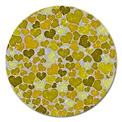 Sparkling Hearts,yellow Magnet 5  (round) by MoreColorsinLife