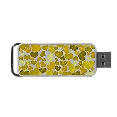 Sparkling Hearts,yellow Portable Usb Flash (two Sides) by MoreColorsinLife