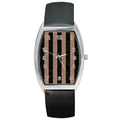 Stripes1 Black Marble & Brown Colored Pencil Barrel Style Metal Watch by trendistuff