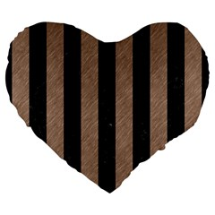 Stripes1 Black Marble & Brown Colored Pencil Large 19  Premium Flano Heart Shape Cushion by trendistuff