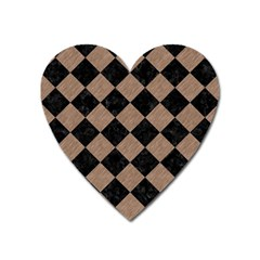 Square2 Black Marble & Brown Colored Pencil Magnet (heart) by trendistuff