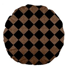 Square2 Black Marble & Brown Colored Pencil Large 18  Premium Flano Round Cushion  by trendistuff