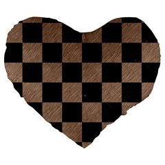 Square1 Black Marble & Brown Colored Pencil Large 19  Premium Flano Heart Shape Cushion by trendistuff