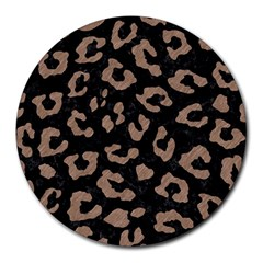 Skin5 Black Marble & Brown Colored Pencil (r) Round Mousepad by trendistuff
