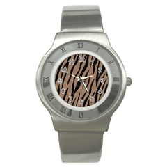Skin3 Black Marble & Brown Colored Pencil (r) Stainless Steel Watch by trendistuff